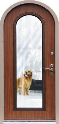Арочные входные двери со стеклом и ковкой
